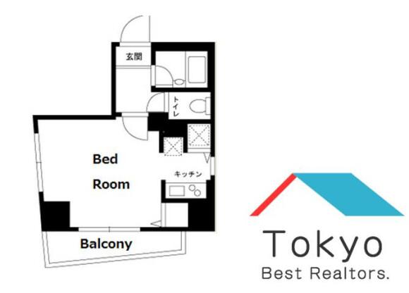 在新宿区内租赁1K 公寓大厦 的 楼层布局