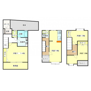 3LDK Mansion in Kumanocho - Toyonaka-shi Floorplan