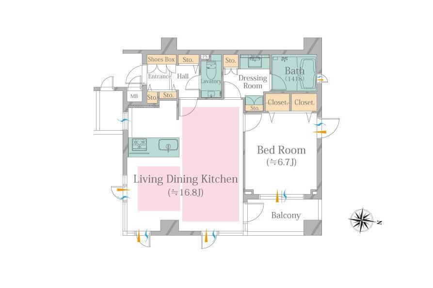 1LDK Apartment to Buy in Shinagawa-ku Floorplan