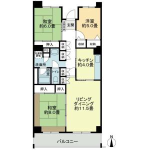 3LDK Mansion in Misaki - Funabashi-shi Floorplan