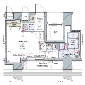 1R Mansion in Kiba - Koto-ku Floorplan