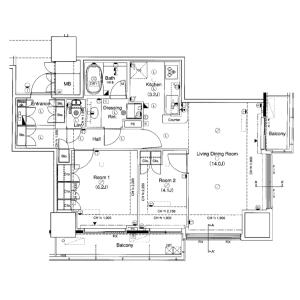2LDK Mansion in Konan - Minato-ku Floorplan