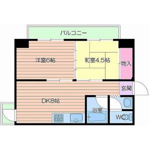 大阪市北区豊崎-2DK公寓大厦 楼层布局