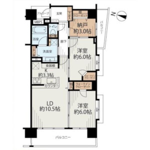 2SLDK {building type} in Senju kotobukicho - Adachi-ku Floorplan