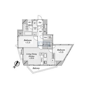 港区 三田 2LDK {building type} 間取り