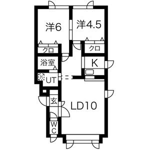 2LDK Apartment in Kita25-jonishi - Sapporo-shi Kita-ku Floorplan