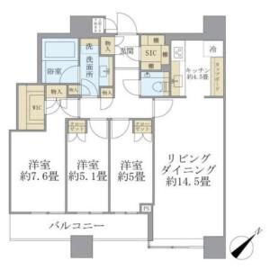 3LDK Mansion in Kamiosaki - Shinagawa-ku Floorplan