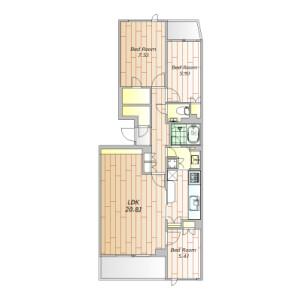 世田谷區下馬-3LDK公寓大廈 房間格局