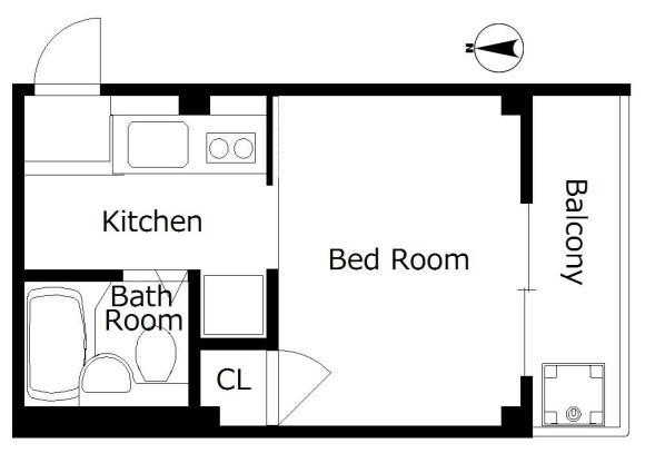 1R Apartment to Rent in Kyoto-shi Nakagyo-ku Floorplan