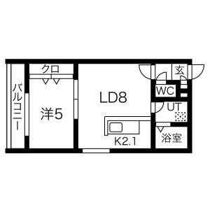 1LDK Mansion in Inaho - Otaru-shi Floorplan