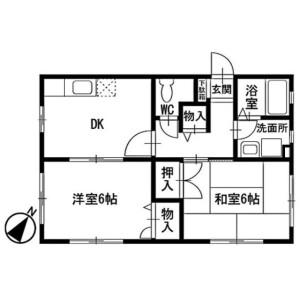 2DK Apartment in Kawashimacho - Yokohama-shi Hodogaya-ku Floorplan