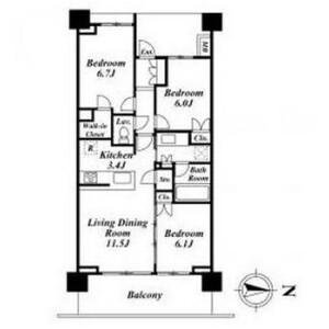 3LDK Mansion in Ohashi - Meguro-ku Floorplan
