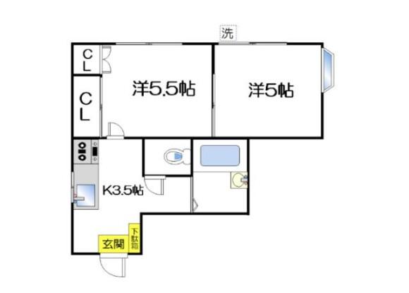 在中野区内租赁2K 公寓 的 楼层布局