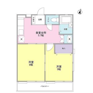 2DK Apartment in Tamagawadai - Setagaya-ku Floorplan