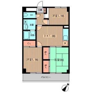 3DK Mansion in Tokaichibacho - Yokohama-shi Midori-ku Floorplan