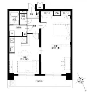 1LDK {building type} in Aioicho - Yokohama-shi Naka-ku Floorplan