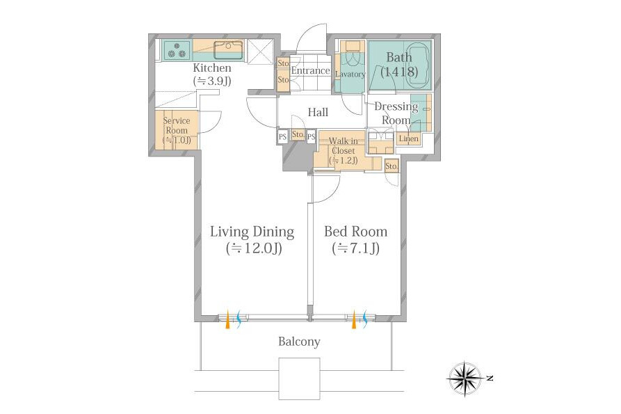 1LDK Apartment to Buy in Chuo-ku Floorplan