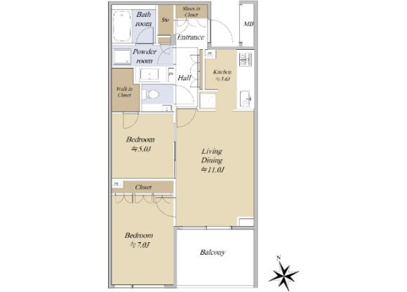 2LDK Apartment to Buy in Shibuya-ku Floorplan