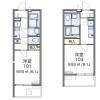 在品川区内租赁1K 公寓大厦 的 楼层布局