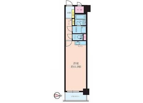 1R Apartment to Buy in Osaka-shi Abeno-ku Floorplan