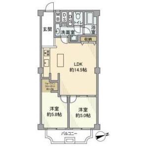 2LDK Mansion in Sanno - Ota-ku Floorplan
