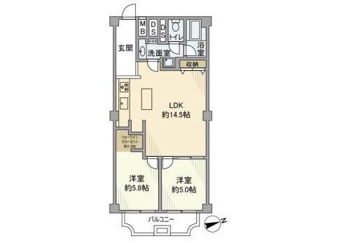 2LDK Apartment to Rent in Ota-ku Floorplan