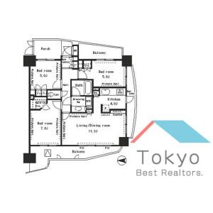 新宿区四谷-3LDK公寓大厦 楼层布局