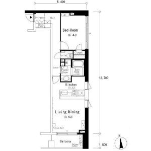 1LDK Apartment in Minamiazabu - Minato-ku Floorplan