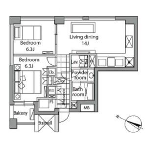 1LDK Apartment in Akasaka - Minato-ku Floorplan