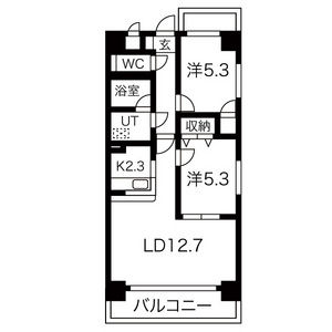 2LDK Mansion in Chiyoda - Nagoya-shi Naka-ku Floorplan