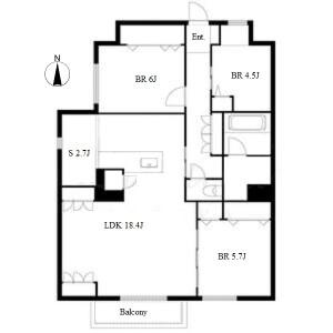 3SLDK Apartment in Yatomicho tsukimigaoka - Nagoya-shi Mizuho-ku Floorplan