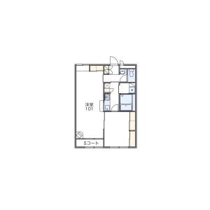 1LDK Apartment in Hachimancho(kawaminami) - Tokushima-shi Floorplan