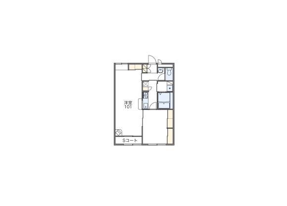 1LDK Apartment to Rent in Tokushima-shi Floorplan