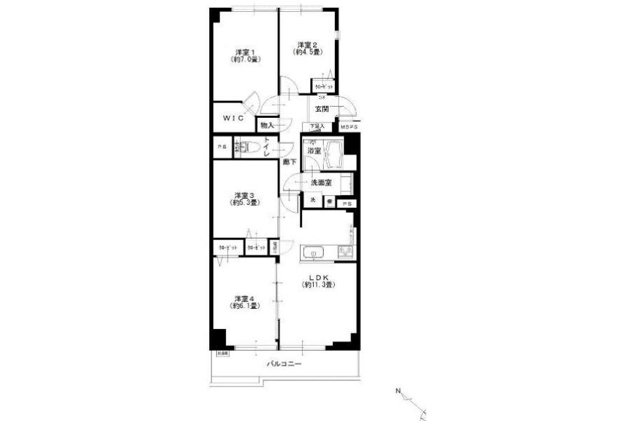 4LDK Apartment to Buy in Koto-ku Floorplan