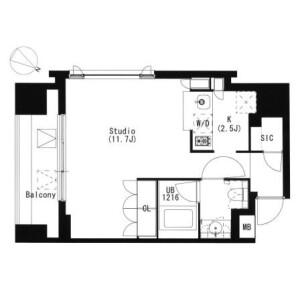 品川區北品川(1〜4丁目)-1R公寓大廈 房間格局
