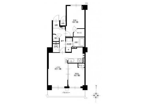2LDK Apartment to Buy in Yokohama-shi Kanagawa-ku Floorplan