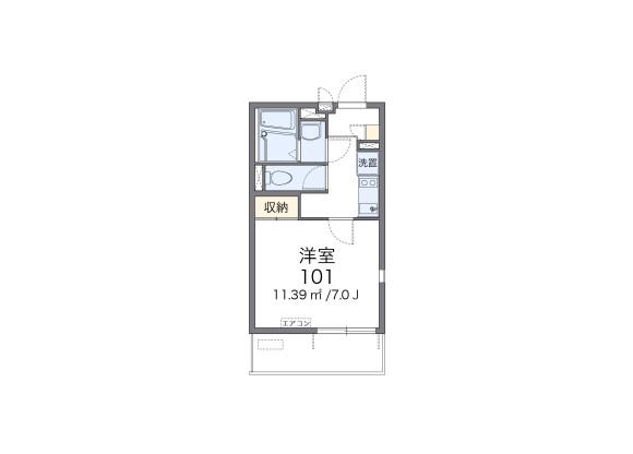 1K Apartment to Rent in Chiba-shi Hanamigawa-ku Floorplan