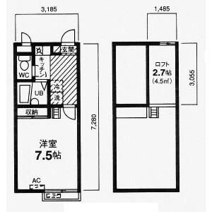 川口市東川口-1K公寓 楼层布局