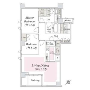 2LDK {building type} in Minamiazabu - Minato-ku Floorplan