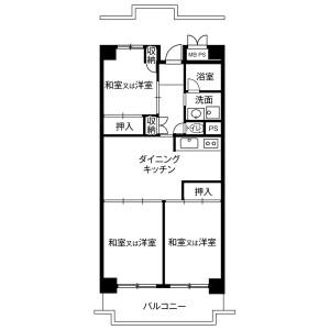 3DK Mansion in Kaigan(3-chome) - Minato-ku Floorplan
