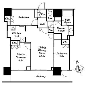 3LDK Mansion in Minato - Chuo-ku Floorplan