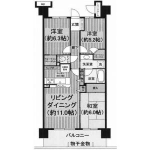 3LDK Mansion in Shimmeicho - Chiba-shi Chuo-ku Floorplan