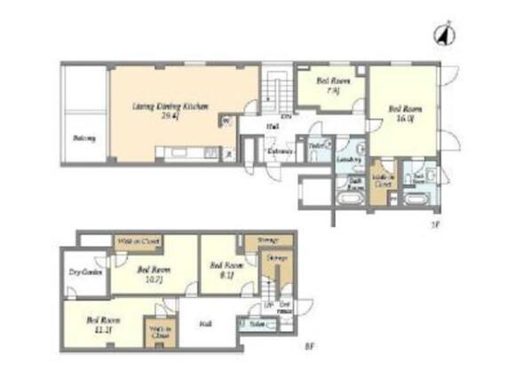 4SLDK Apartment to Rent in Shibuya-ku Floorplan