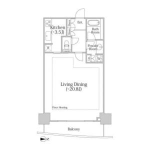 新宿區河田町-1K公寓大廈 房間格局