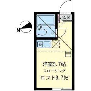 1R Apartment in Motomiya - Yokohama-shi Tsurumi-ku Floorplan