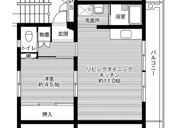1LDK Apartment to Rent in Nabari-shi Floorplan