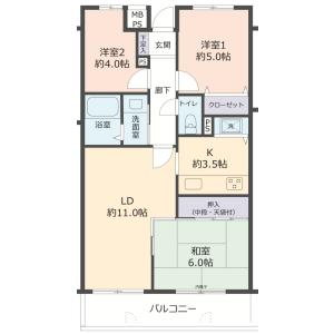 3LDK {building type} in Hotarugaikekitamachi - Toyonaka-shi Floorplan