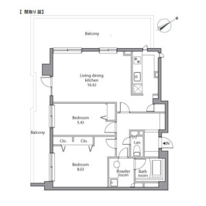 港區赤坂-2LDK公寓大廈 房間格局