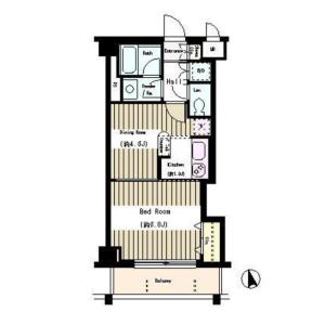 1DK Apartment in Kamiochiai - Shinjuku-ku Floorplan