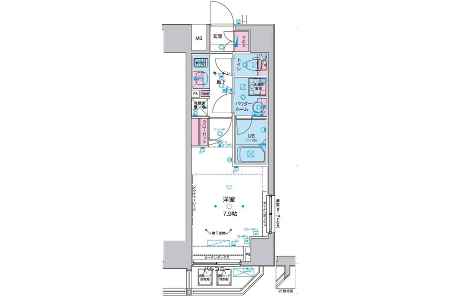 在Minato-ku內租賃1K 公寓 的房產 房間格局
